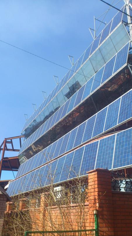 Фасадная сетевая солнечная станция 27 кВт
